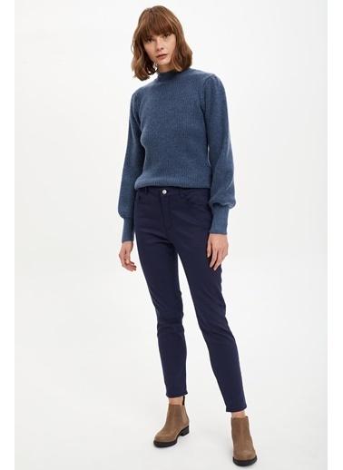 DeFacto Slim Fit Dokuma Pantolon Mavi